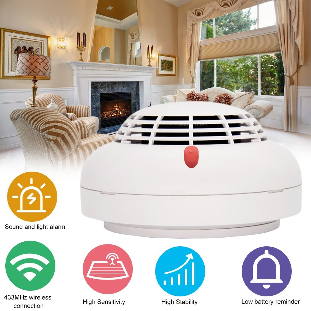 433MHz Wire-less Smoke Detector Intelligent Fire Alarm Sensor Home Security System High Sensitive Smoke Fire Detector