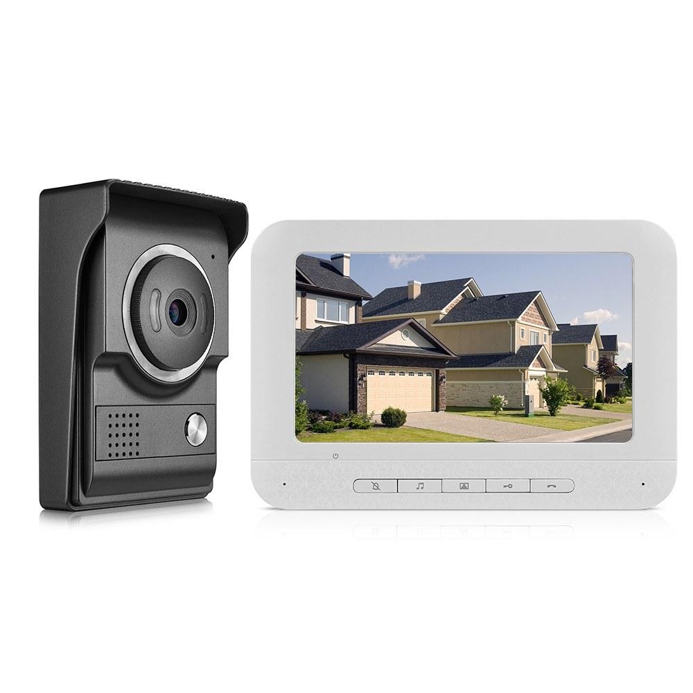 7inch Video Door Phone Doorbell Intercom Kit TFT-LCD Color Screen 1 Indoor Monitor 1 Outdoor Camera Support Night Vision Waterproof Unlock Monitor For Home Apartment Villa