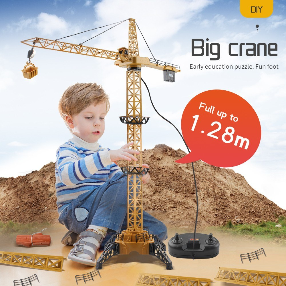 4CH Remote Control Electric Mega Tower Crane 128cm High Simulated Light 680 Degree Rotation Construction Crane Toy for Kids Children