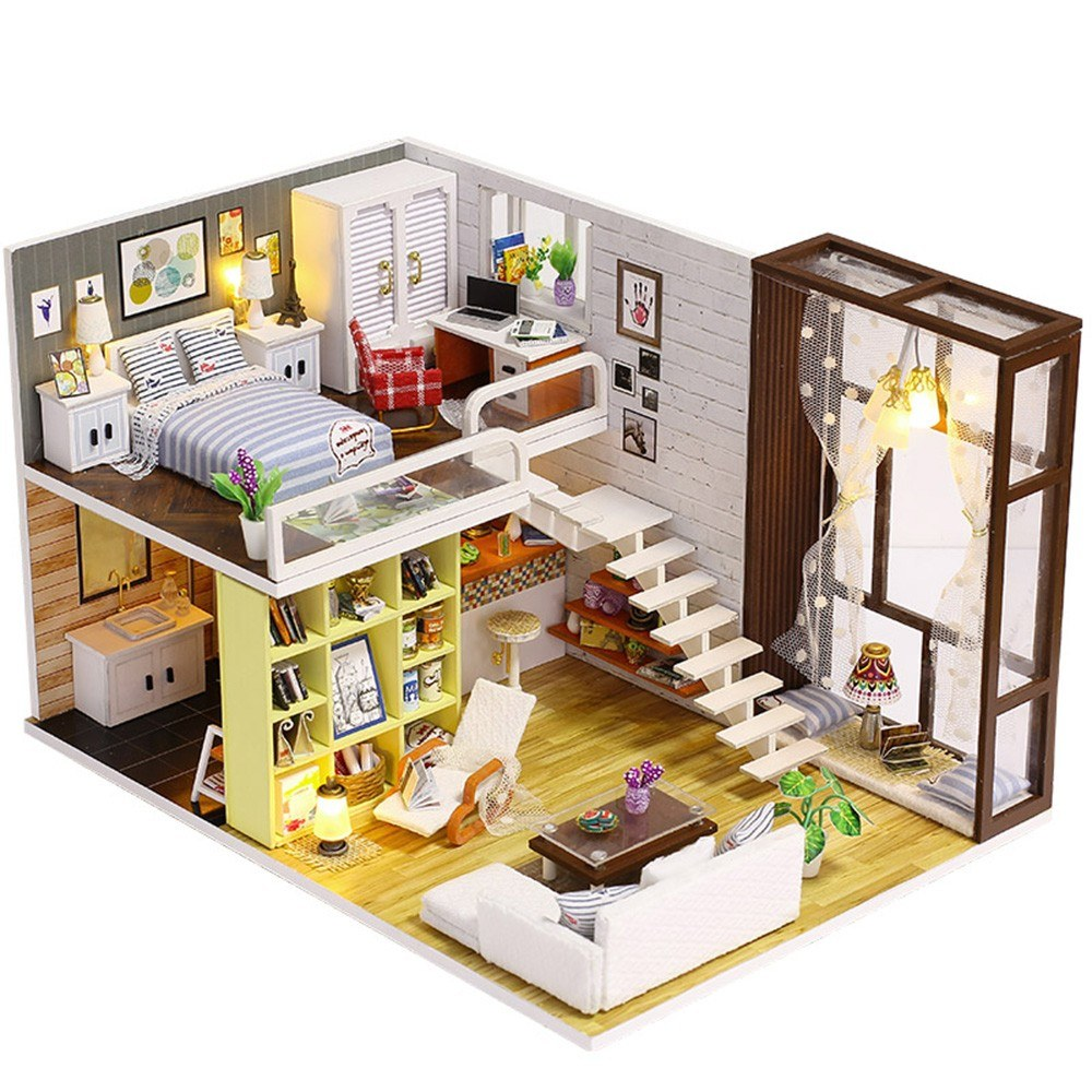 Assemble DIY Doll House Toy Wooden Miniatura Kit Dollhouse Toys with Furniture Kit LED Christmas Birthday Gift