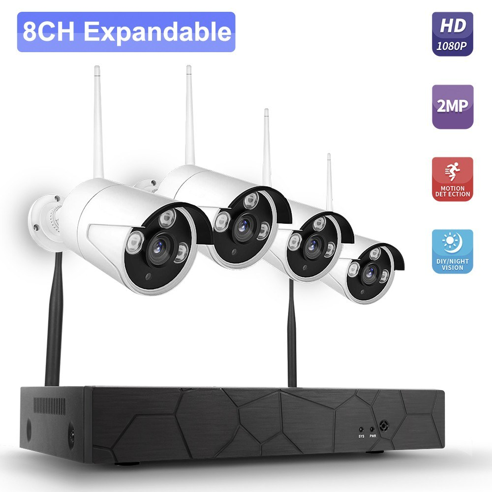 K8208-8 8CH NVR + 4 Cameras Wireless NVR Kit Security Surveillance System 2MP 1080P HD WIFI Home Security Camera Monitor Night Vision P2P Motion Detection Alarm Trigger US Plug