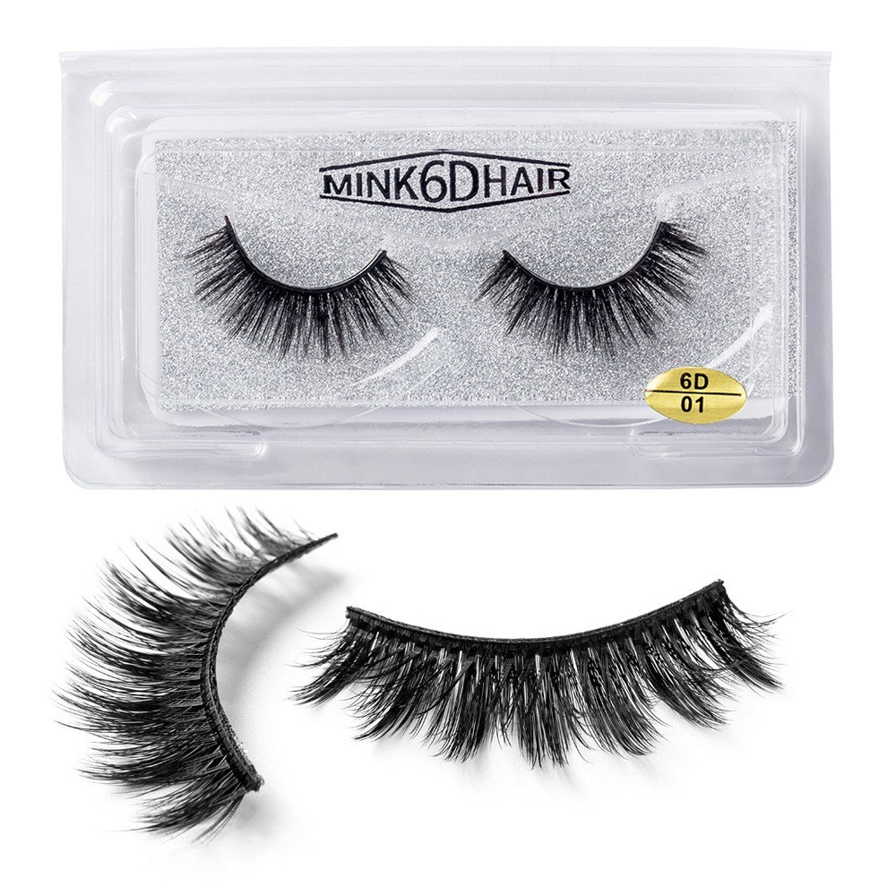 1 Pairs/2pcs 6D Natural Thick Reusable   False Eye Lashes Extension Handmade   Comfortable Eyelashes