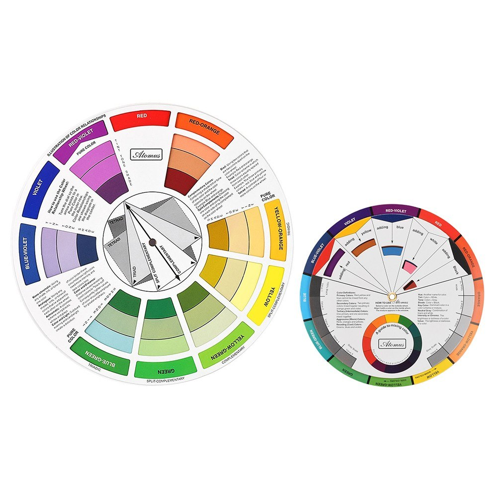 2PCS Color Wheel Paper Card Color Mixing Guides Tattoo Pigment Chart Supplies