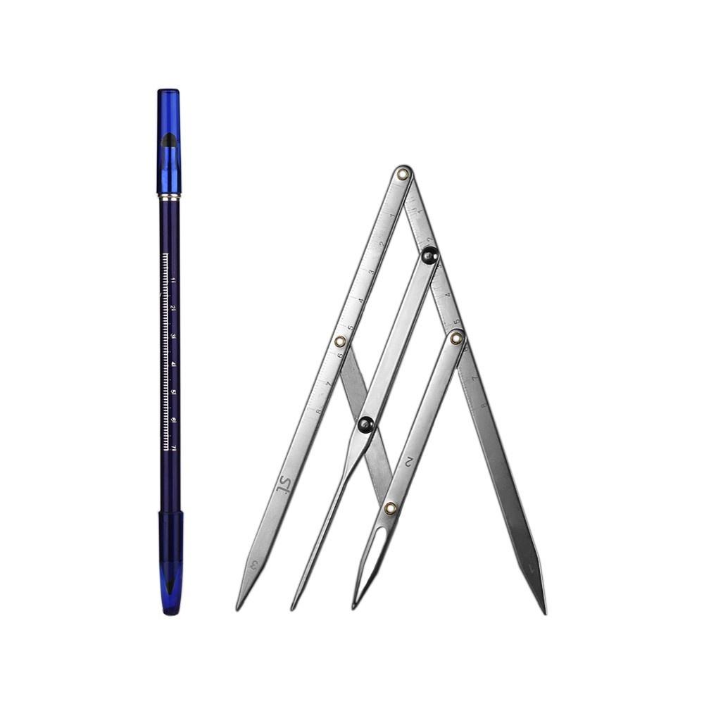 Dark Coffee Waterproof Sweat-proof Eyebrow Pencil Double Head Long-lasting Brow Pencil Stainless-steel Eyebrow Positioning Ruler Calipers