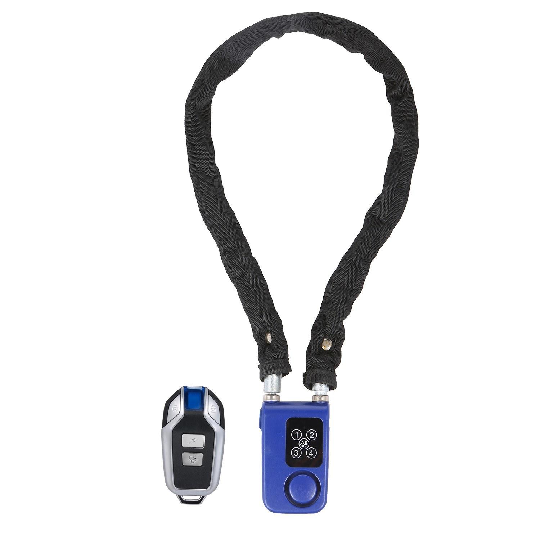 Keyless Password Lock Wireless Remote Control Lock 80CM Steel Chain Anti Theft Alarm Lock Digital Smart Lock for Bicycle Motocycle Security IP55 Waterproof