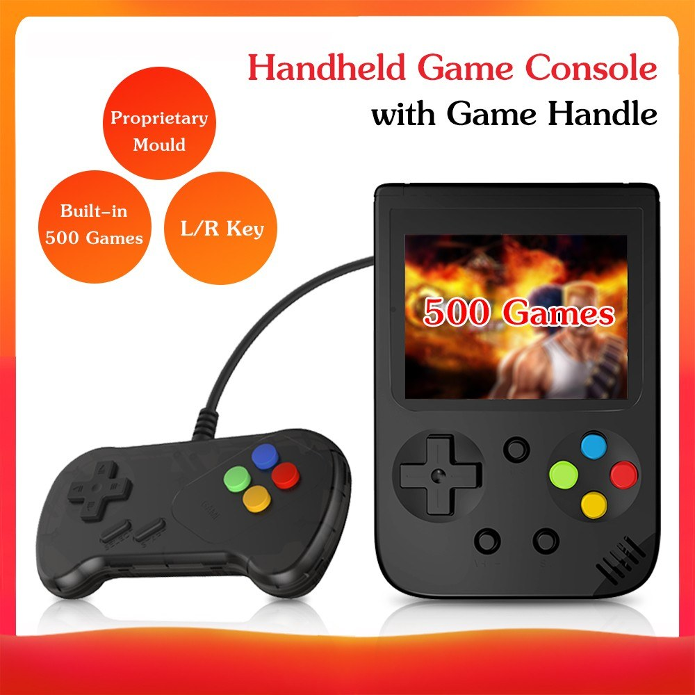 Portable Mini Handheld Game Console Proprietary Mould 8-Bit 3.0in Screen Built-in Classical 500 Games Retro Childhood Handheld Game Console Kid Children Gift with Game Handle