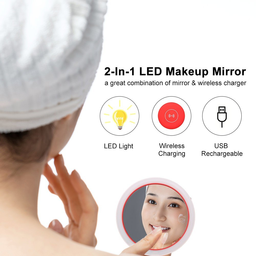 2-In-1 LED Makeup Mirror Portable Wireless Charger Compatible with Cell Phones Support Wireless Charging Mini Dimmable LED Mirror with 3 Lighting Levels Micro USB Rechargeable