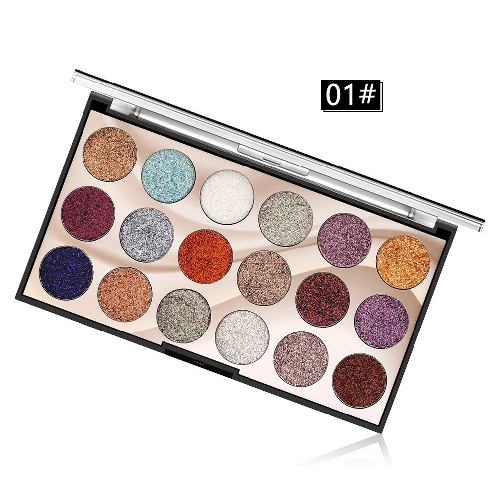 18 Color Sequins Glitter Eye Shadow Stage Eye Makeup Glitter Powder High-gloss Shiny Pearl Eye Shadow Tray M1