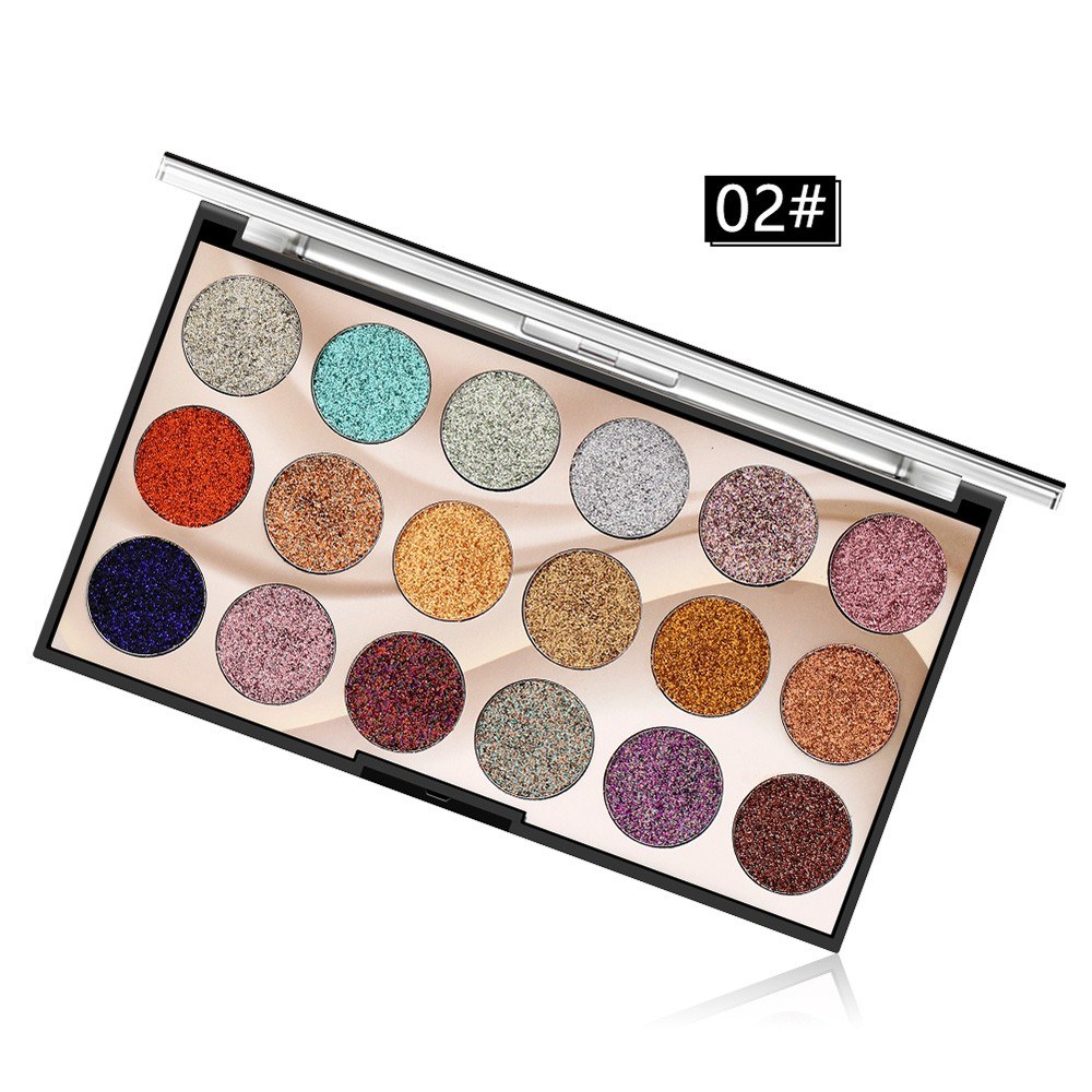 18 Color Sequins Glitter Eye Shadow Stage Eye Makeup Glitter Powder High-gloss Shiny Pearl Eye Shadow Tray M2
