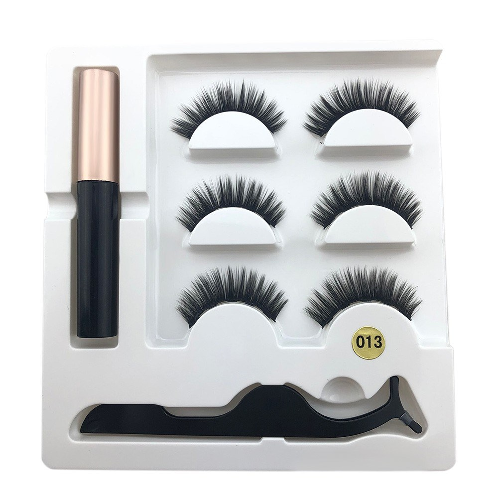Magnetic False Eyelashes Set with Applicator Eyelashes Mascara 3D Black Dual Magnetic Fake Lashes for Eyelashes Extension Reusable