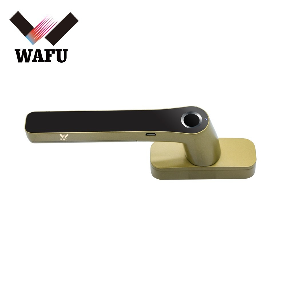 WAFU Smart Fingerprint Lock Keyless Entry Door Window Locks Rechargeable Cordless Security Lock Zinc Alloy Lever Door Lock Suitable for Left & Right Handle for Home Office Apartment