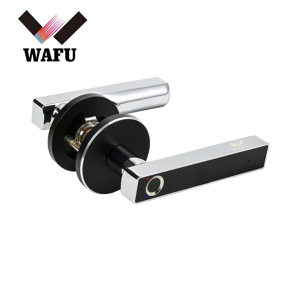WAFU Smart Fingerprint Lock Keyless Entry Door Lock Rechargeable Cordless Security Lock Zinc Alloy Lever Door Lock Suitable for Left & Right Handle for Home Office Apartment