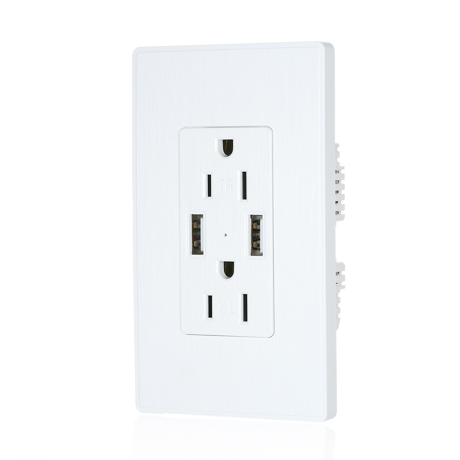 2.1A USB Outlet Wall Charger 15A TR Decora Outlet Receptacle with Dual USB Ports Wall socket USB Outlet for iPhone Samsung and More with TR Protect White