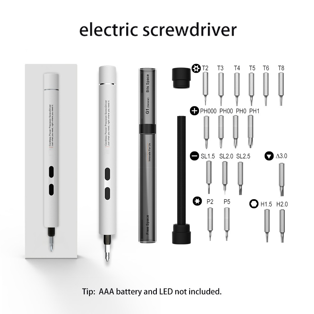 Electric Power Screwdriver Portable Cordless Magnetic Screw Driver Precision Hand Screwdriver Bit Set For Laptop PC Cellphone Small Devices Repair Tools Set
