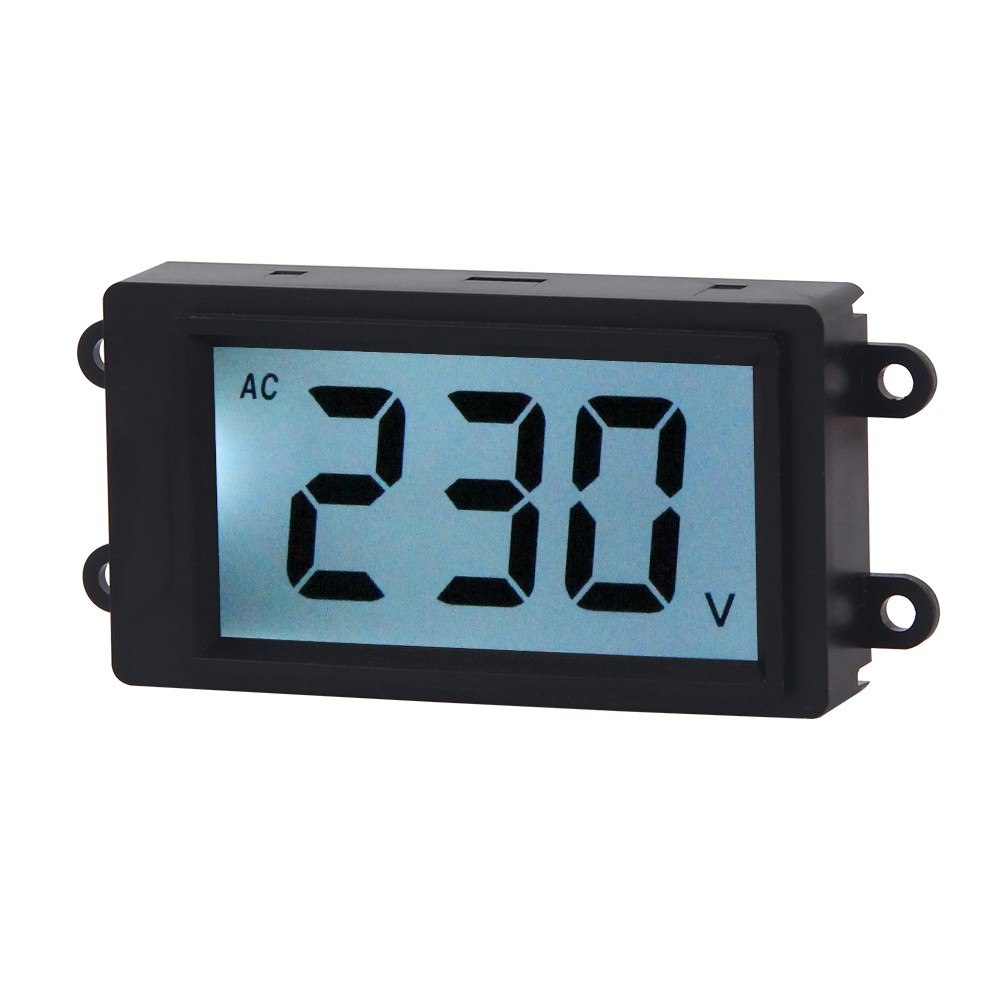 AC Digital Volt Meter 2 Wire 80-380V White LCD Display Voltage Monitor Voltmeter Industrial Electrical Voltage Tester Gauge Panel