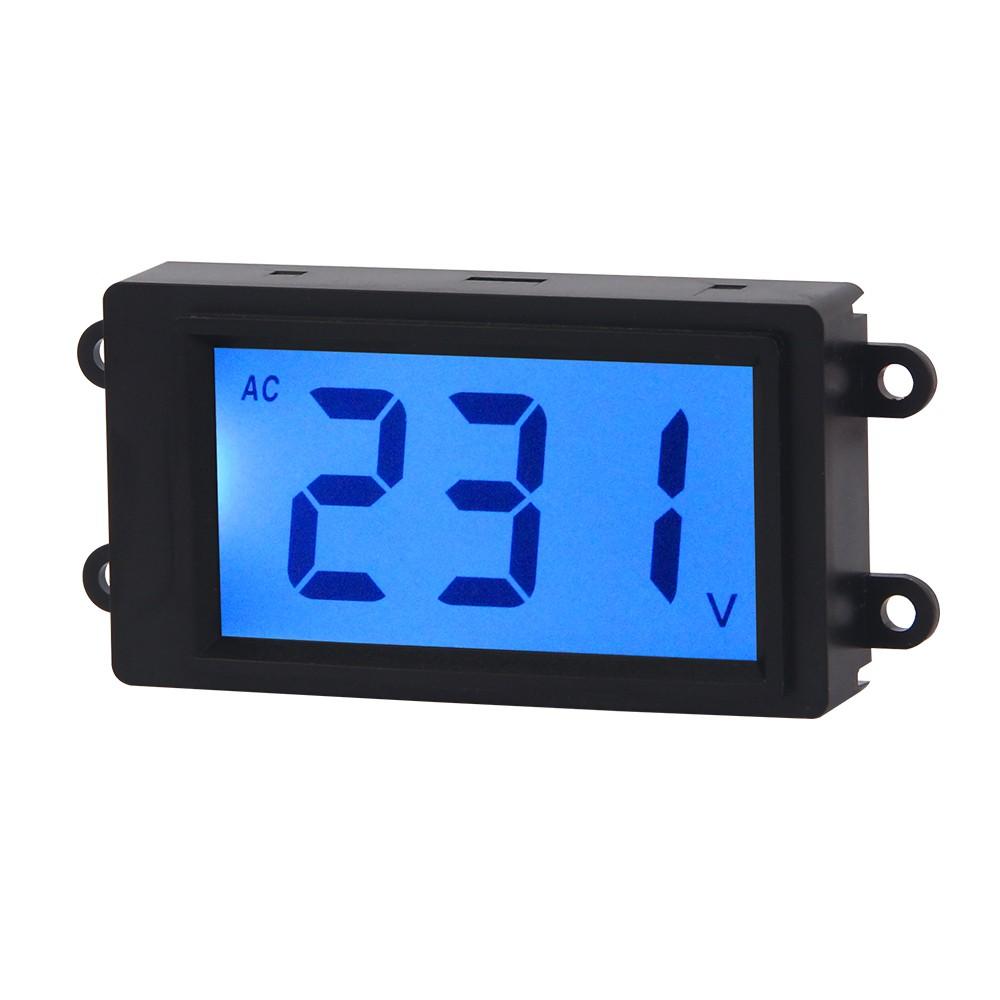 AC Digital Volt Meter 2 Wire 80-380V Blue LCD Display Voltage Monitor Voltmeter Industrial Electrical Voltage Tester Gauge Panel