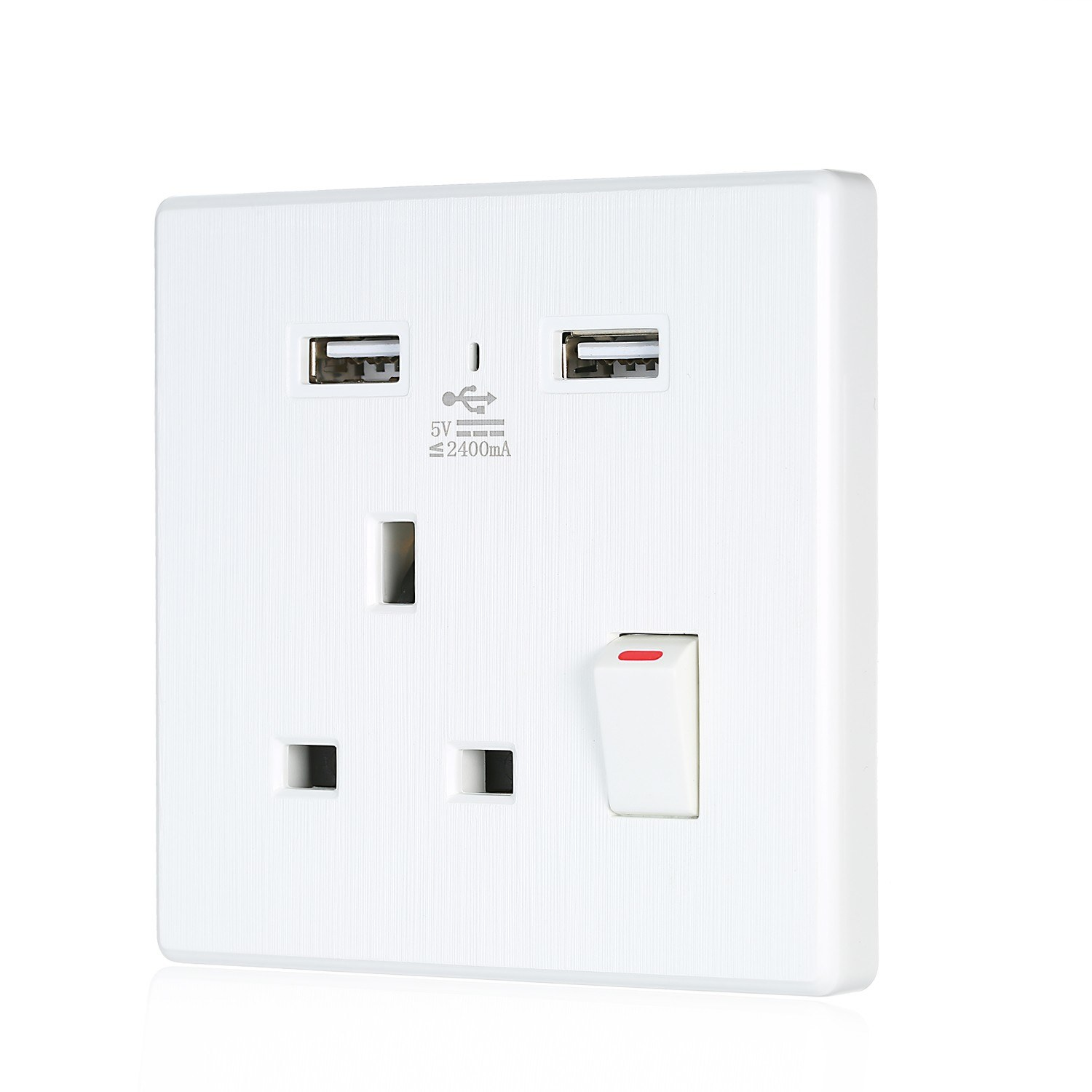 86*86mm AC110-250V 13A Wall USB Socket Panel Household Office Wall Switch Single Socket 2.4A USB 5V Charger Port UK Standard