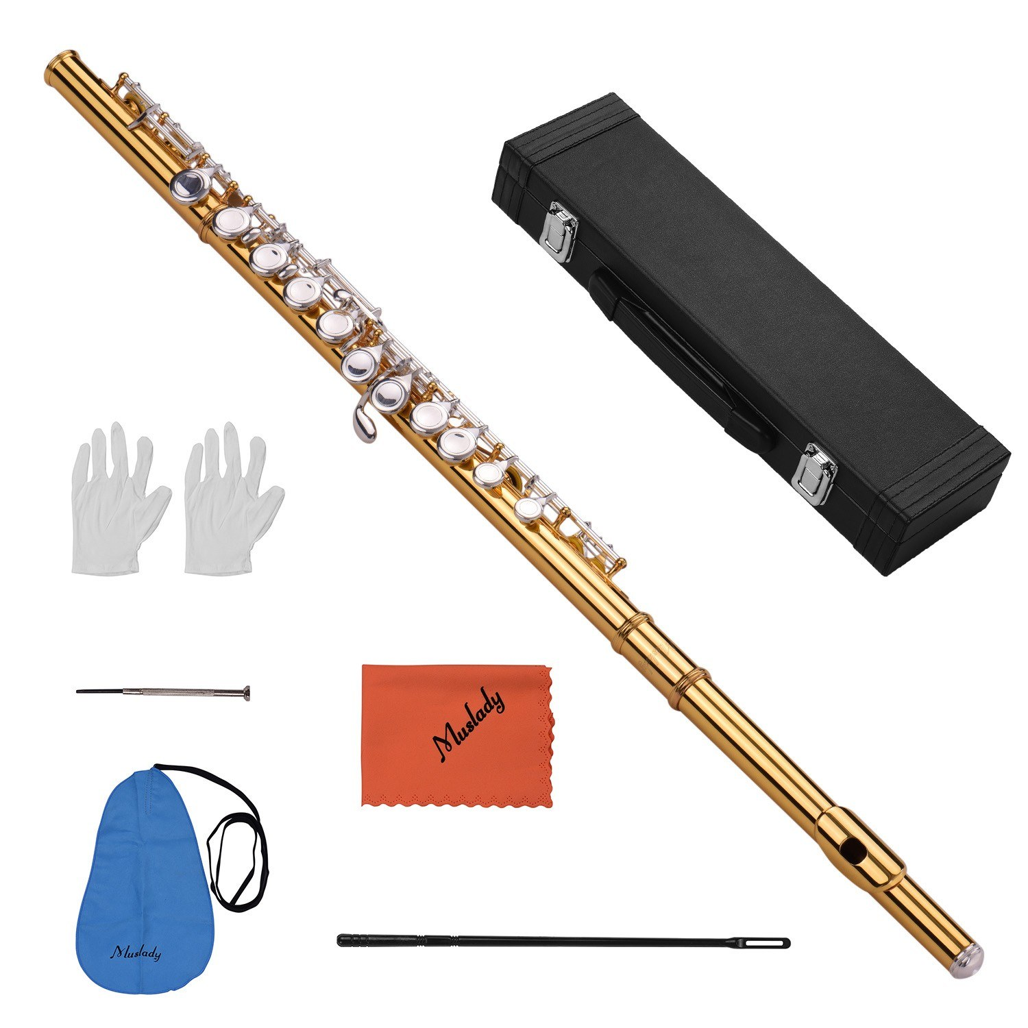 Muslady Professional Closed Hole C Flute Cupronickel Gold-plated Tube 16 Silver-plated Keys Wind Instrument with Padded Carry Case Cleaning Cloth Gloves Mini Screwdriver Cleaning Stick