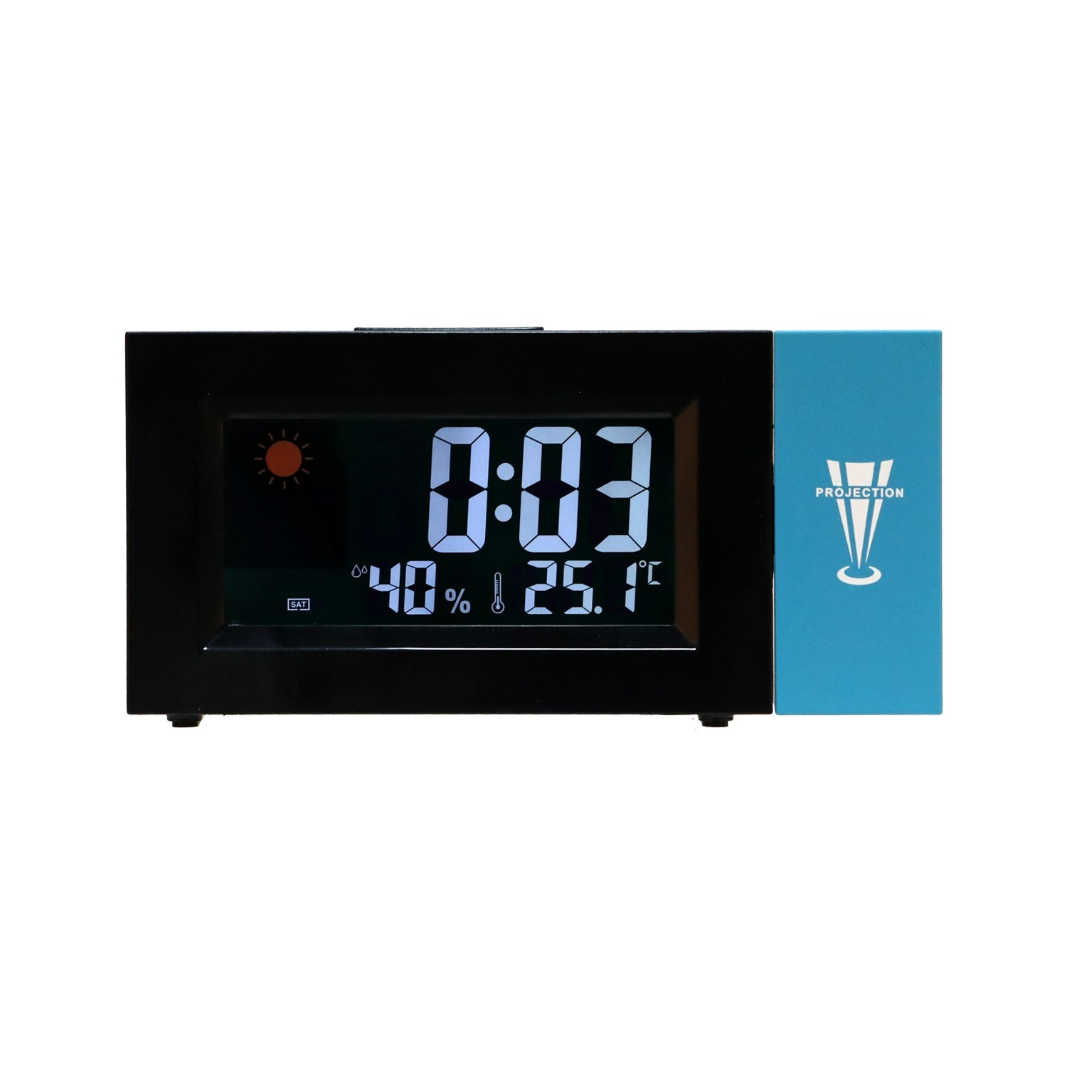 LED Backlight Digital Display Colorful Screen Weather Clock Weather Forecast Projection Clock Rotating Alarm Clock Temperature Humidity Clock