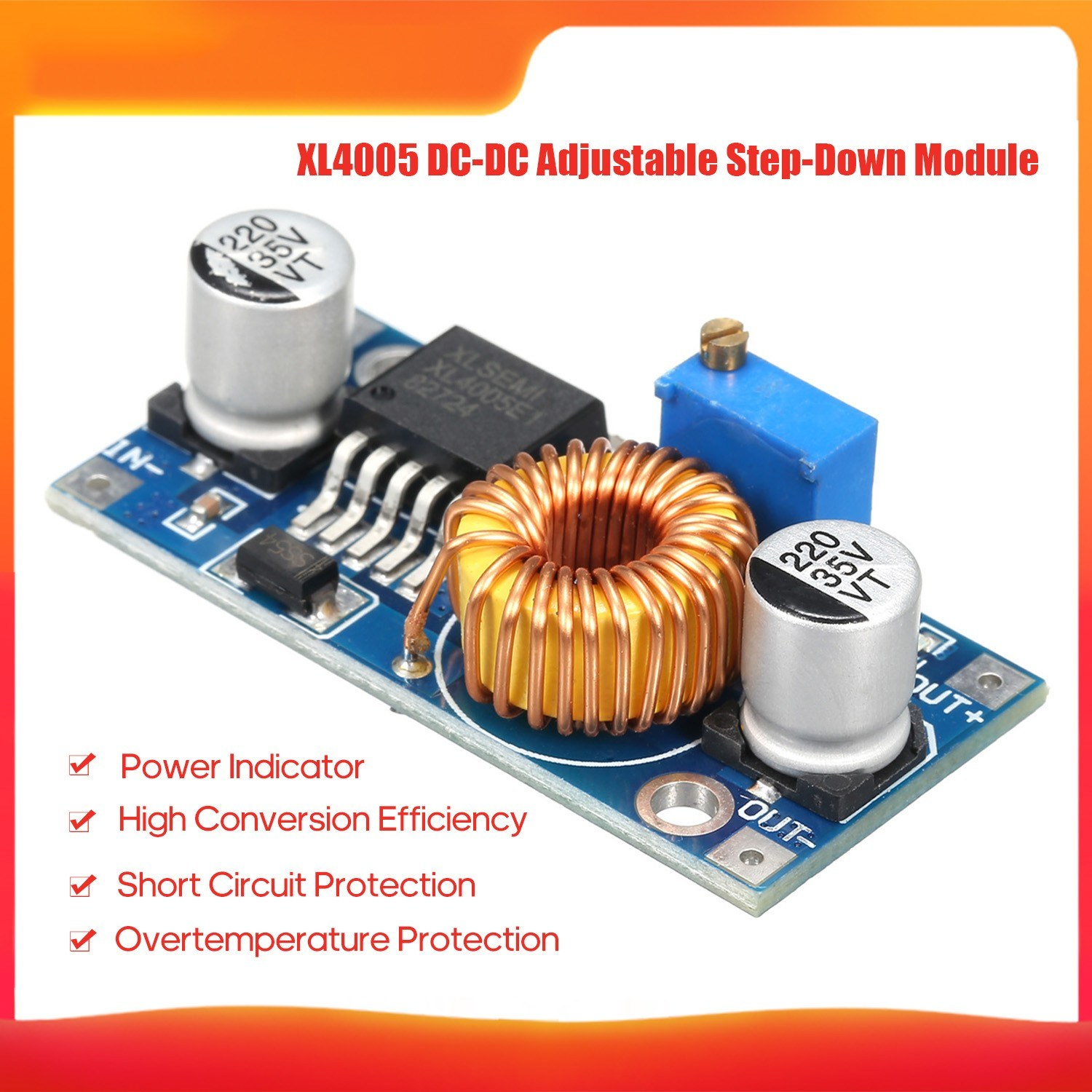 XL4005 DC-DC Adjustable Step-Down Module 4~38V 5A High Conversion Efficiency Low Ripple Adjustable Automatic Converter