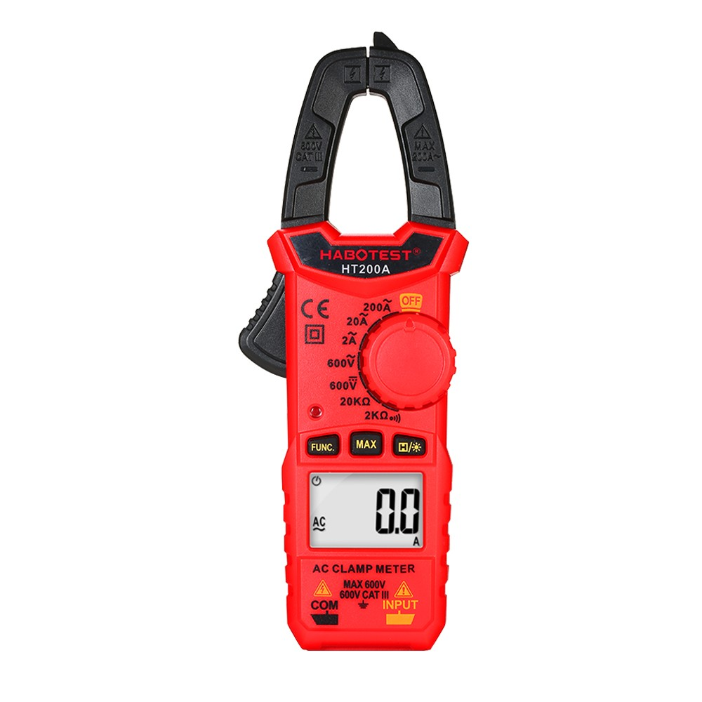 HABOTEST HT200A Mini AC Digital Clamp Meter True RMS Auto Ranging Digital Multimeter with AC Current AC/DC Voltage Resistance Continuity Tests