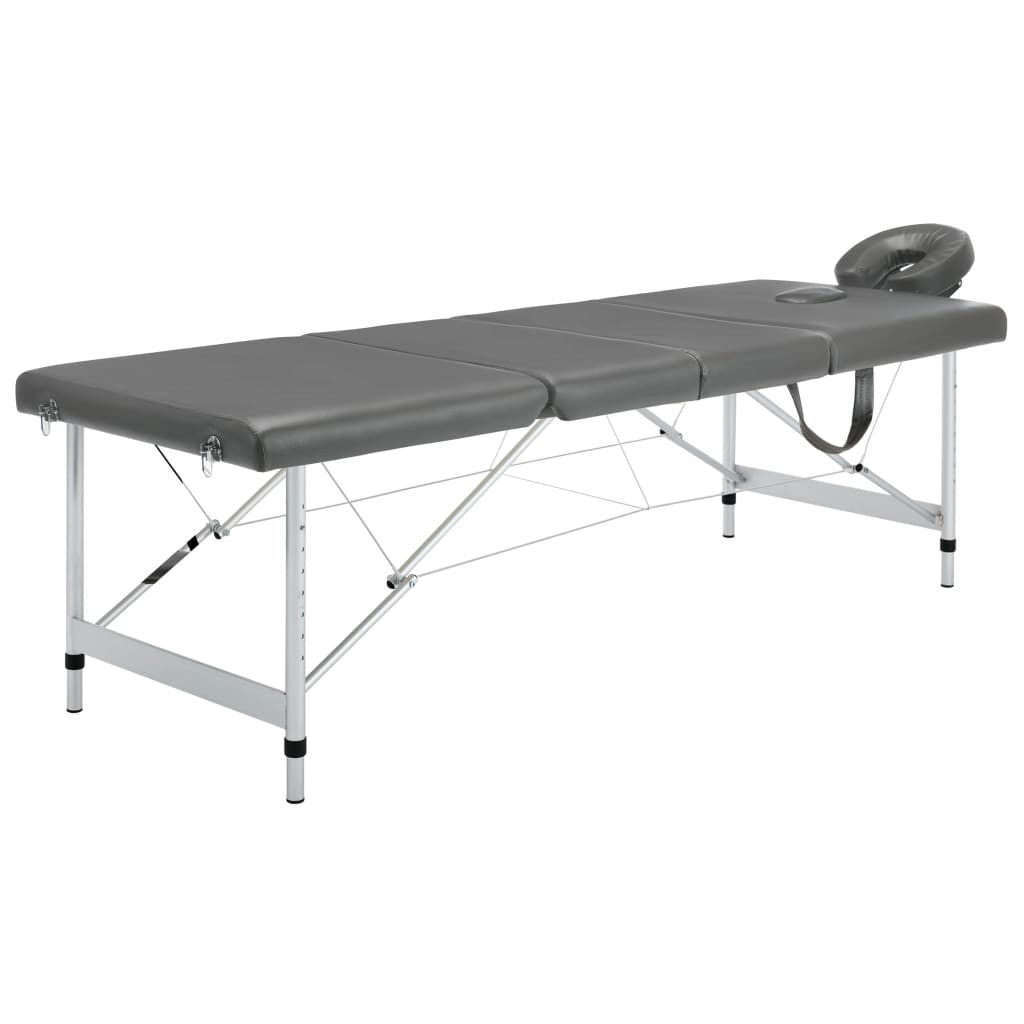 Massage table 4 zones Aluminum frame Anthracite 186x68cm