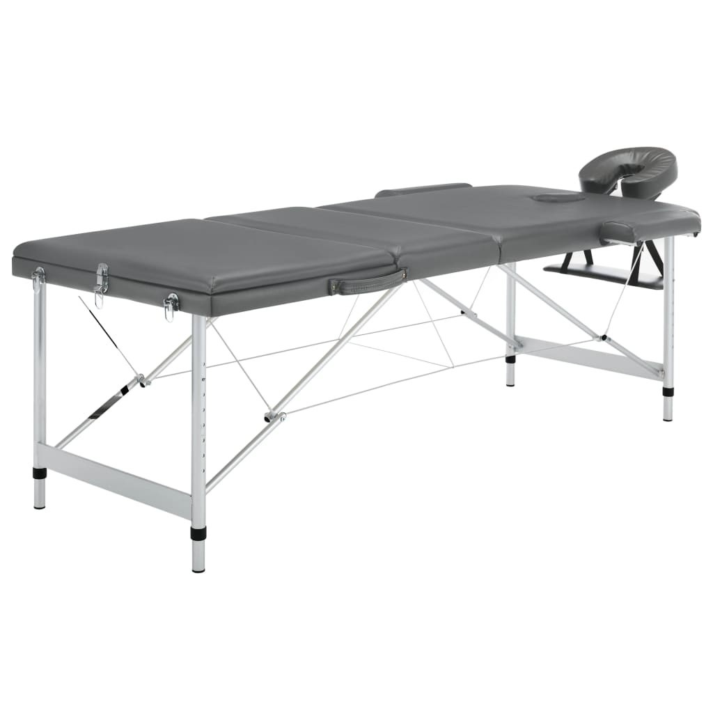 3 zone massage table Anthracite aluminum frame 186x68cm