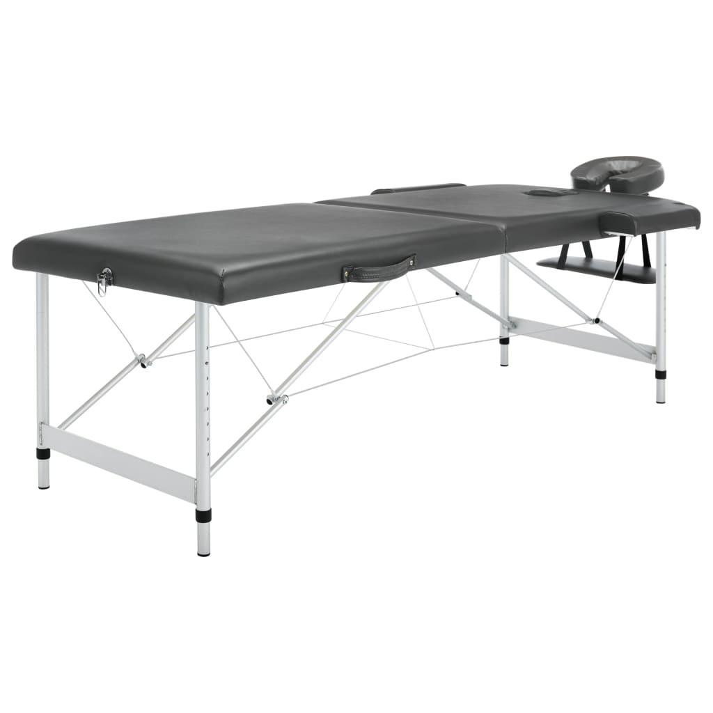 Massage table 2 zones Aluminum frame Anthracite 186x68cm