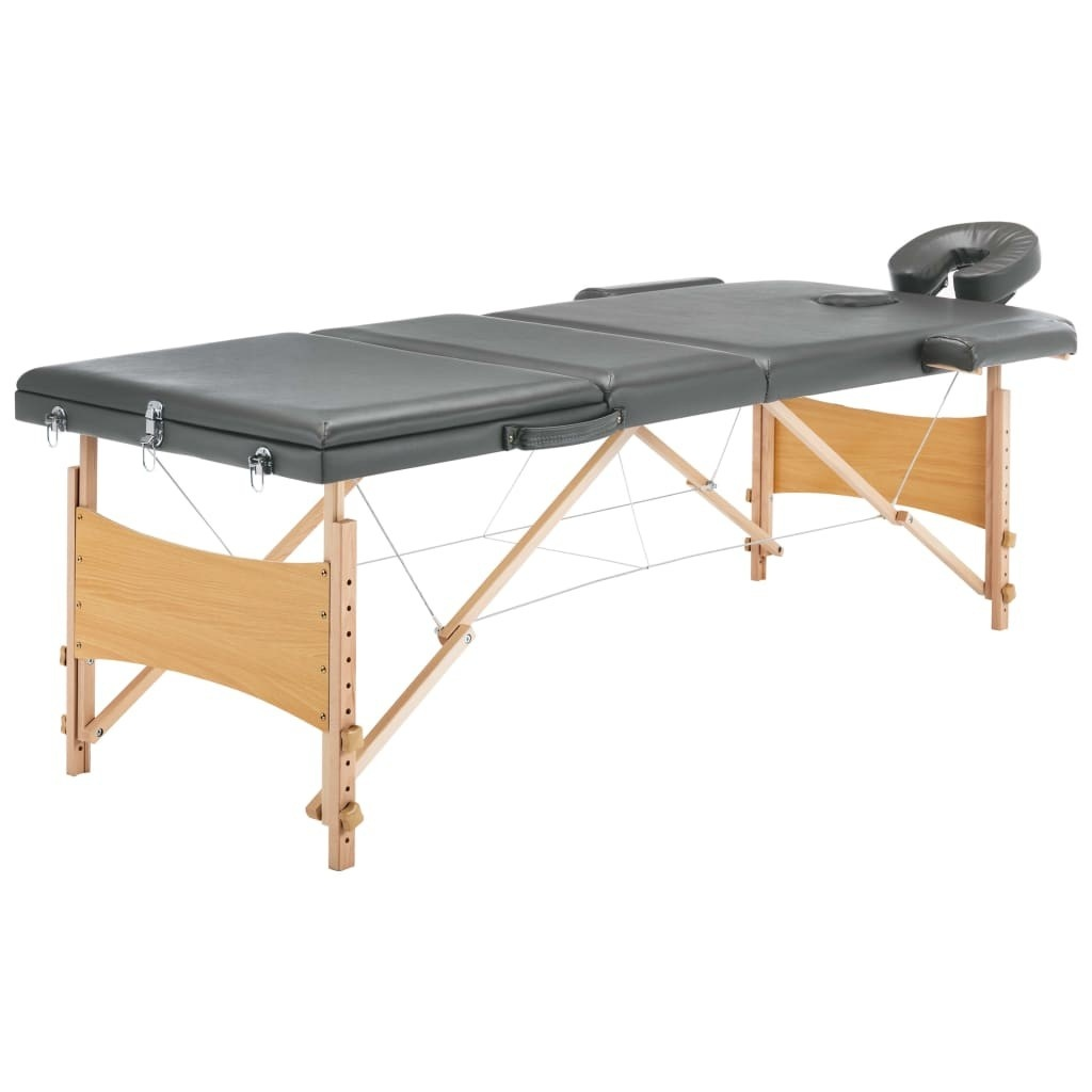 Massage table with 3 zones Anthracite wood frame 186 × 68 cm