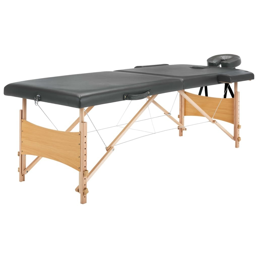 Massage table with 2 zones Wooden frame Anthracite 186x68cm