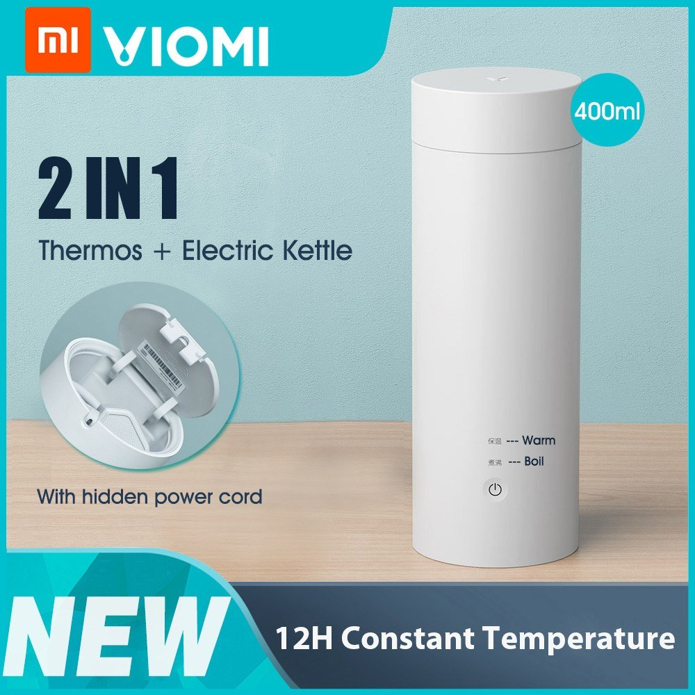 Xiaomi VIOMI Electric Thermos Bottle Cup Portable Bottle Stainless Steel Heating Thermal Mug for Tea Coffee Milk Powder Travel Mini Kettle 400ml 220V YM-K0401