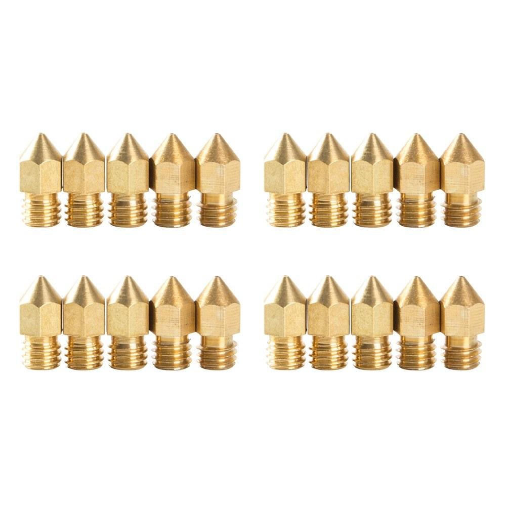 Creality 3D 20PCS MK8 Nozzles 0.4mm 3D Printer CR-10 Nozzle 3D Printer Accessories Brass 3D Extruder Nozzle