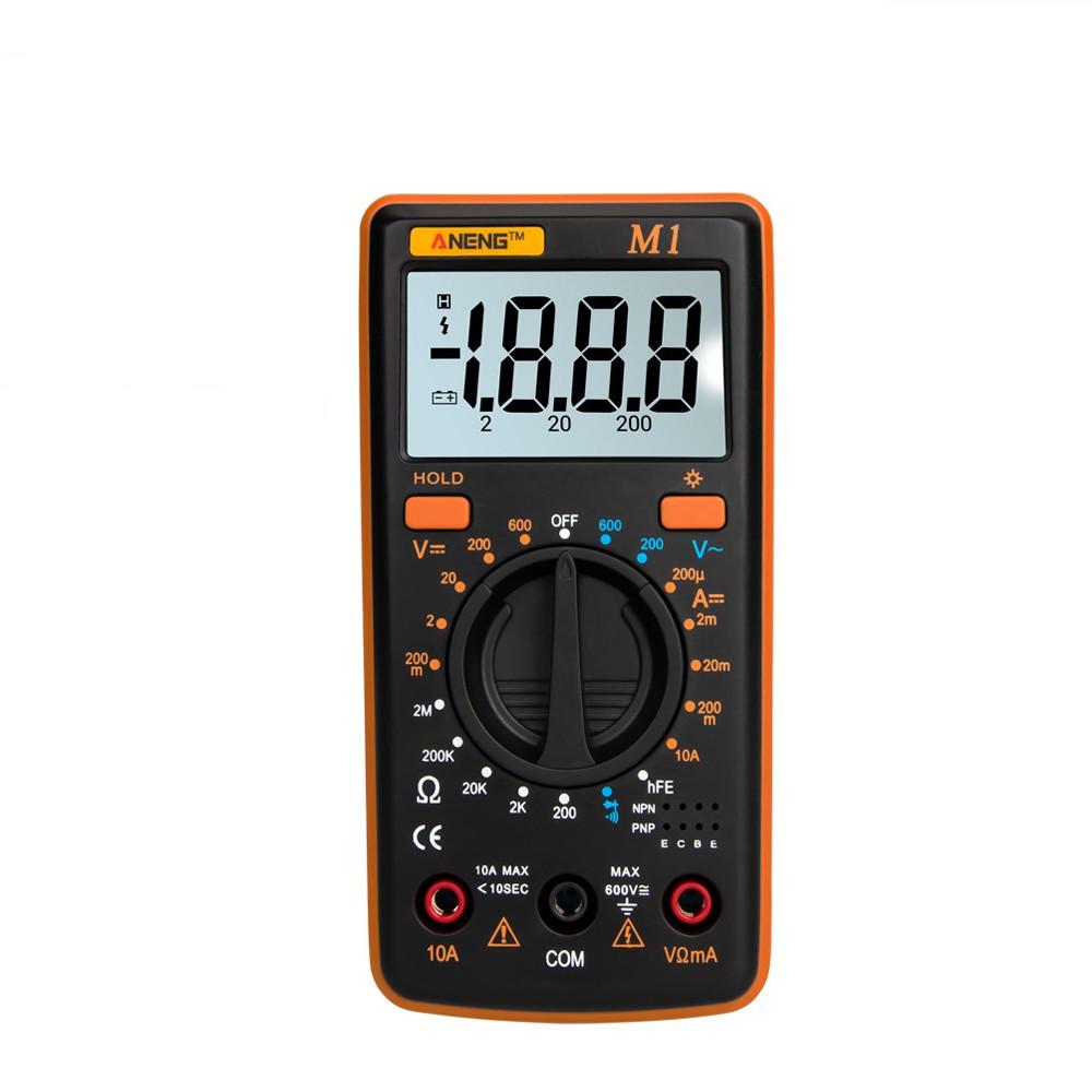 ANENG M1 Handheld Digital Multimeter LCD Backlight High Precision AC/DC Voltage Current Resistance Transistor Continuity Tester Overload Protection Orange