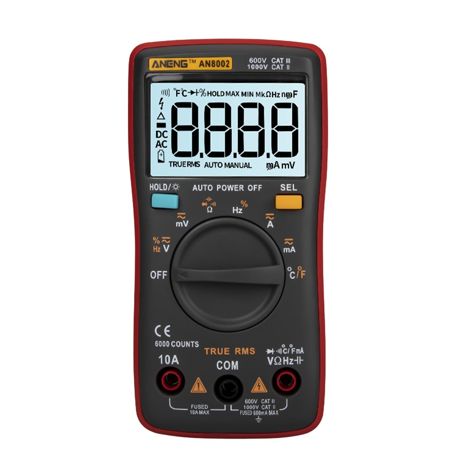 ANENG AN8002 6000 Counts True RMS Multifunctional Digital Multimeter Voltmeter Ammeter Handheld Mini Universal Meter High Accuracy Measure Temperature AC/DC Voltage AC/DC Current Resistance Capacitance Frequency Duty Cycle Diode Tester