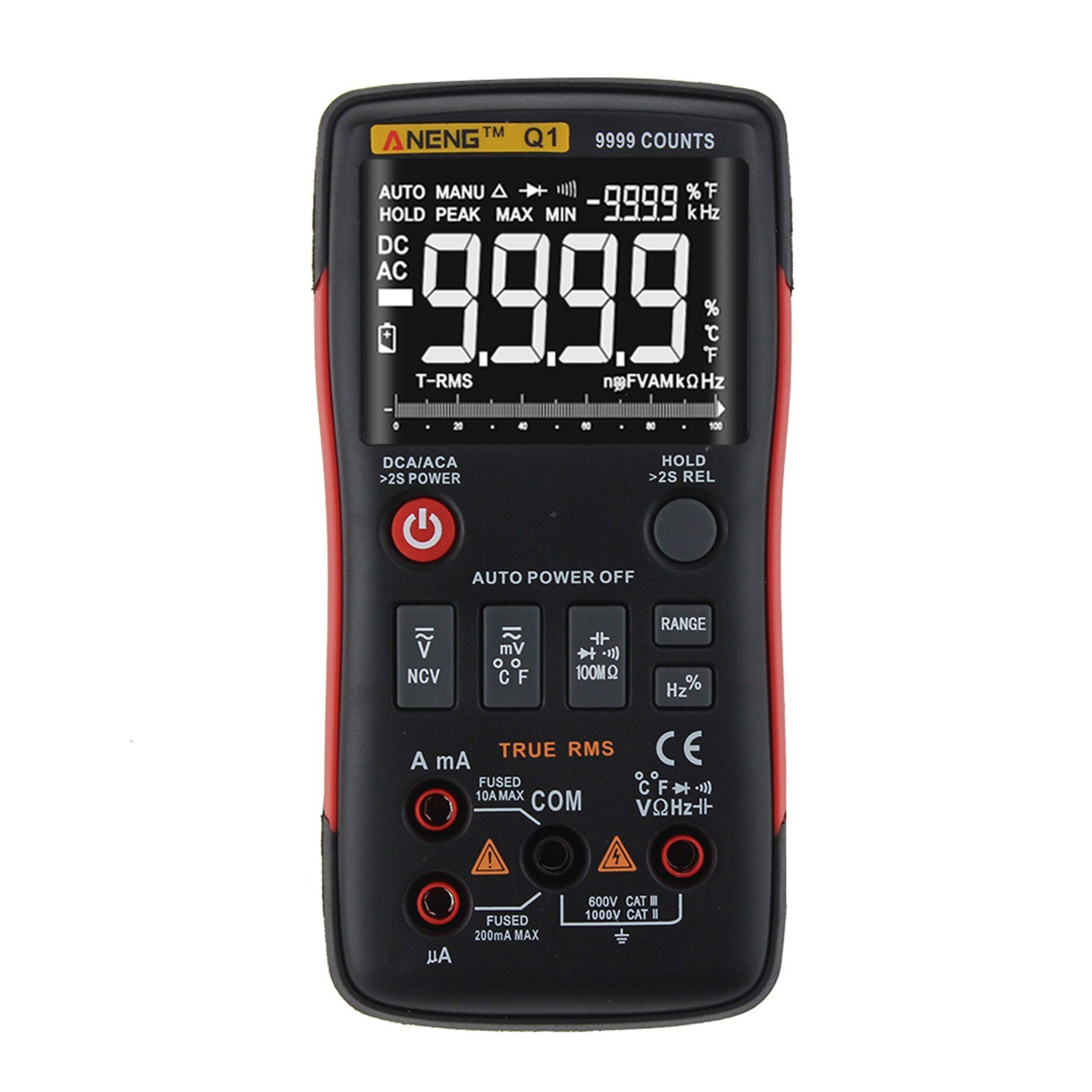 ANENG 9999 Counts True RMS Multifunctional Digital Multimeter Voltmeter Ammeter Handheld Mini Universal Meter High Accuracy Measure AC/DC Voltage AC/DC Current Resistance Capacitance Frequency Duty Cycle Temperature Diode Tester