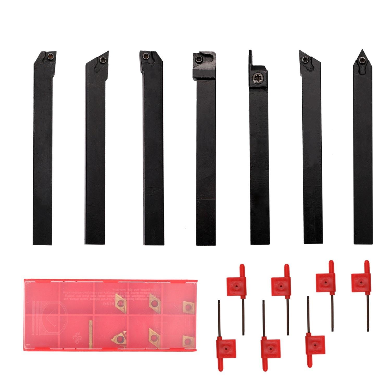 21pcs 10mm Shank Lathe Turning Tool Holder Boring Bar Carbide Inserts Lathe Turning Tool