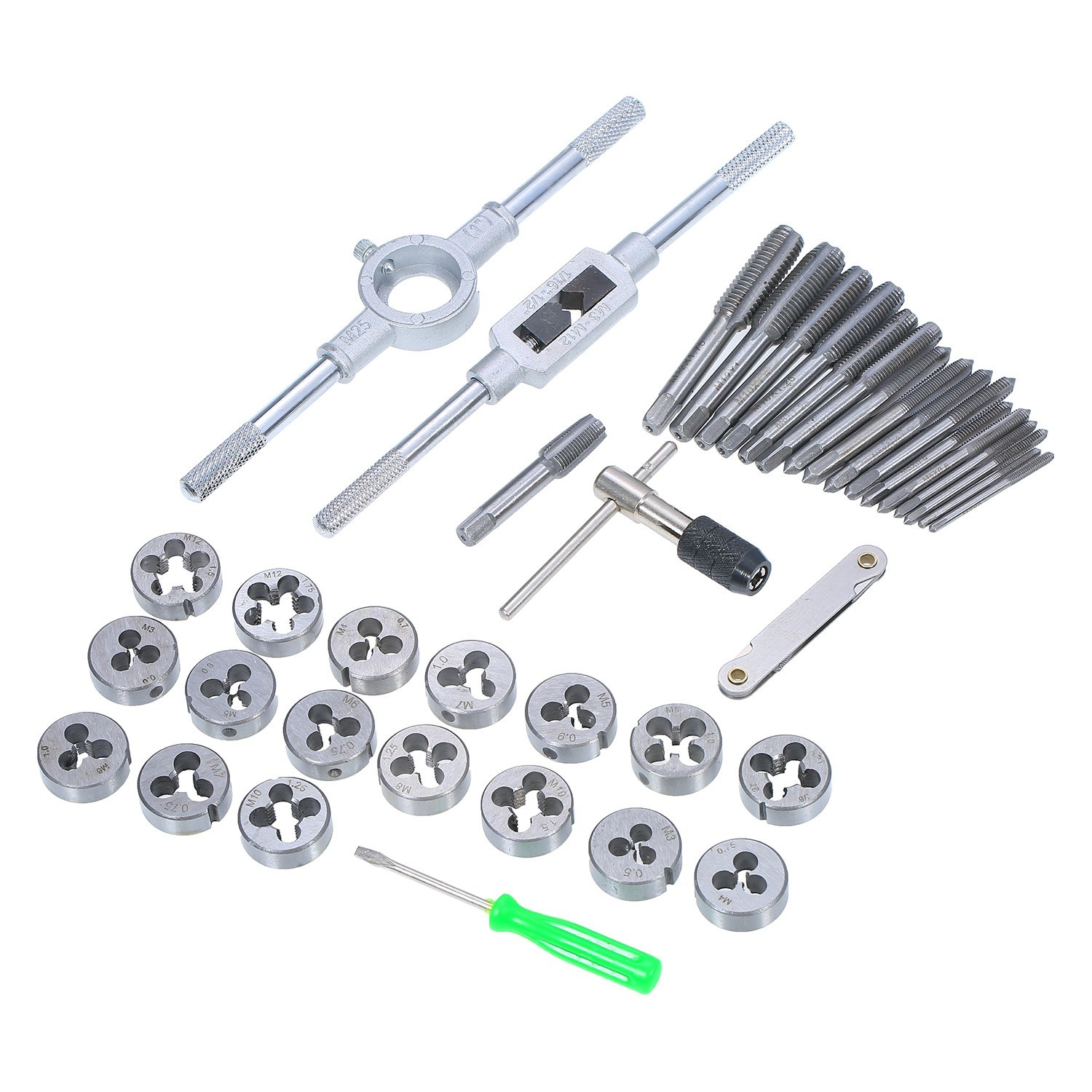40pcs Tap Die Set M3-M12 Screw Thread Metric Taps Wrench Dies DIY Kit Wrench Screw Threading Hand Tools Tap Wrench Tools