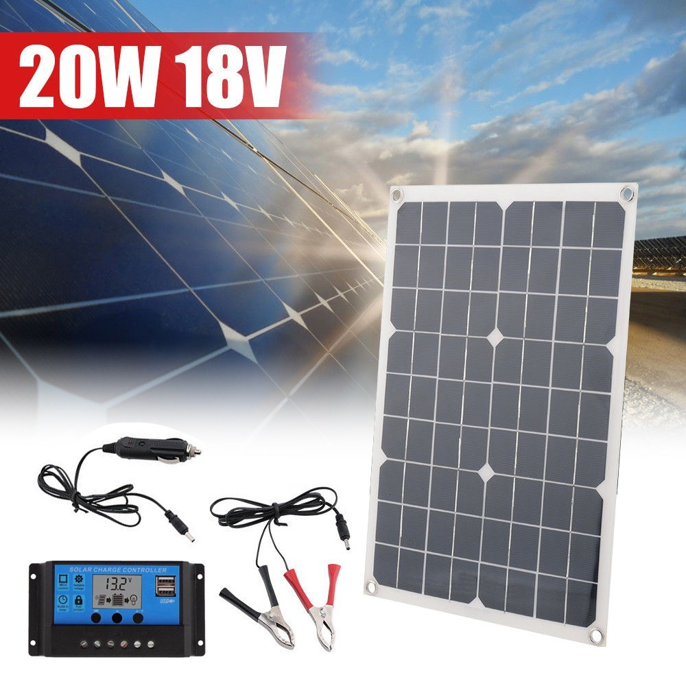 20W 18V Monocrystalline Silicon Solar USB Panel Solar Charger with 10A Solar Charge Controller