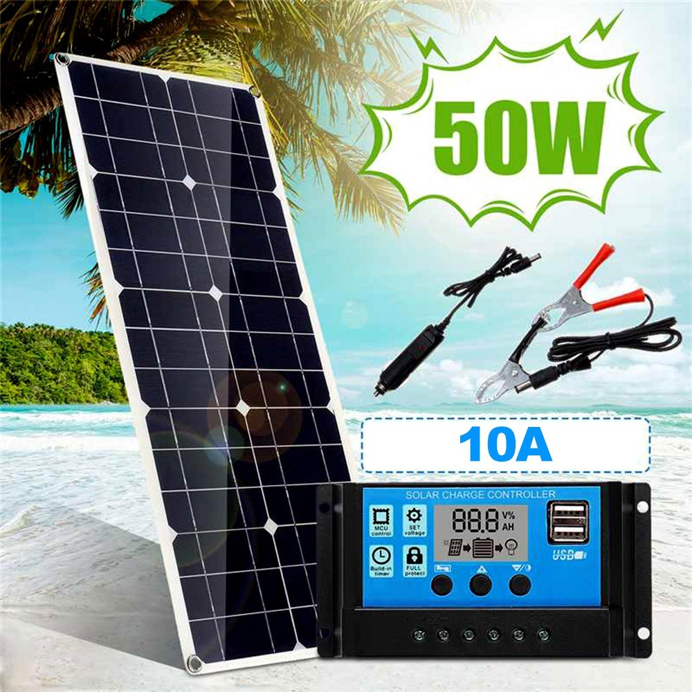 50W 5V/18V Solar Panel Dual USB Output Monocrystalline Solar Panel IP65 Water-resistant with 10A Solar Charge Controller Regulator for Car Yacht Batterys Boat Charger