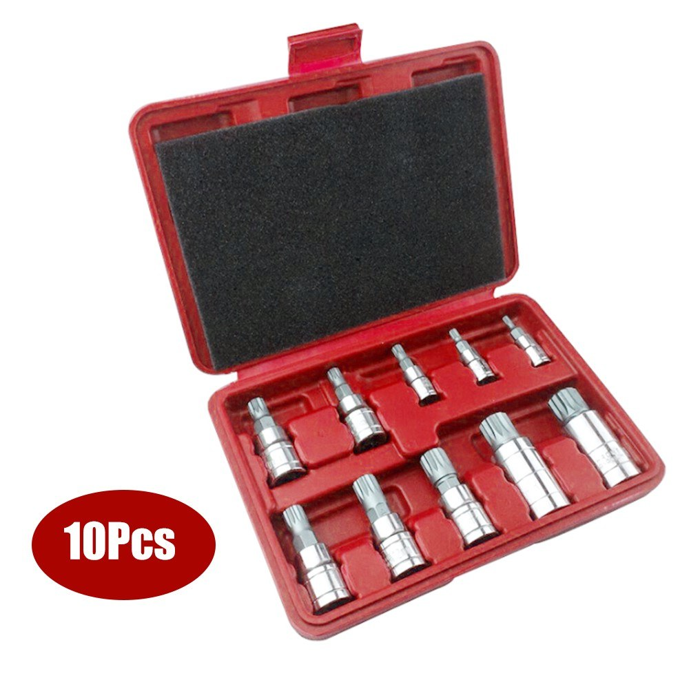 10Pcs XZN Tampered Triple Square Spline Bit Socket Set 3/8