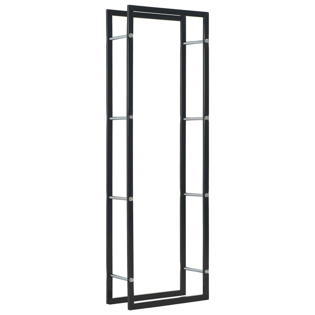 Firewood Rack Black 50x20x150 cm Steel