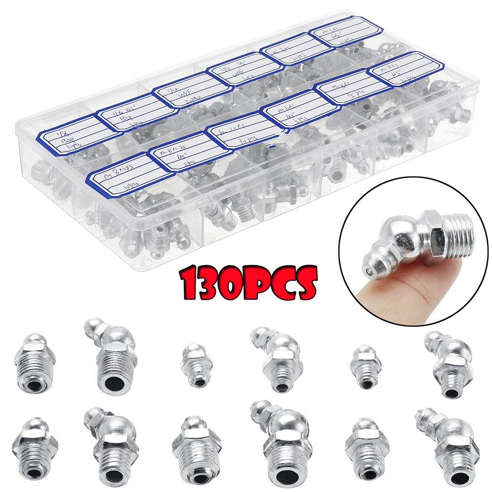 130Pcs Hydraulic Grease Nipples Galvanized Metal Grease Nipple Fitting Assortment Kits Fitting Metric Imperial BSP UNF M6 M8 M10 45°