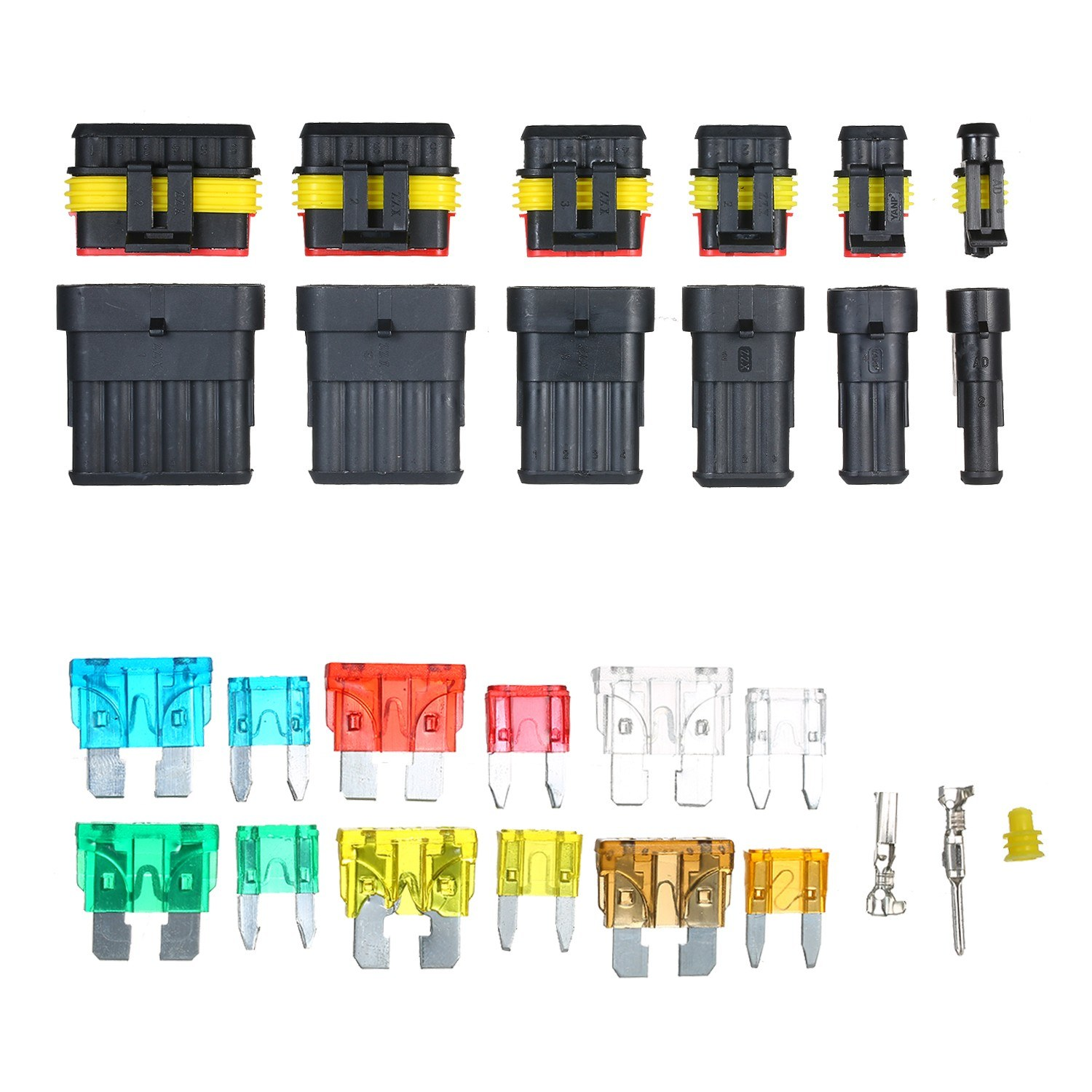 AMP1P 2P 3P 4P 5P 6P Waterproof Car Auto Electrical Wire Connector Terminal Plug with Blade Fuse Connector Plug Kit Terminal Assortment 1 2 3 4 5 6 Pin Male & Female Waterproof Connectors for Car Motorcycle Boat