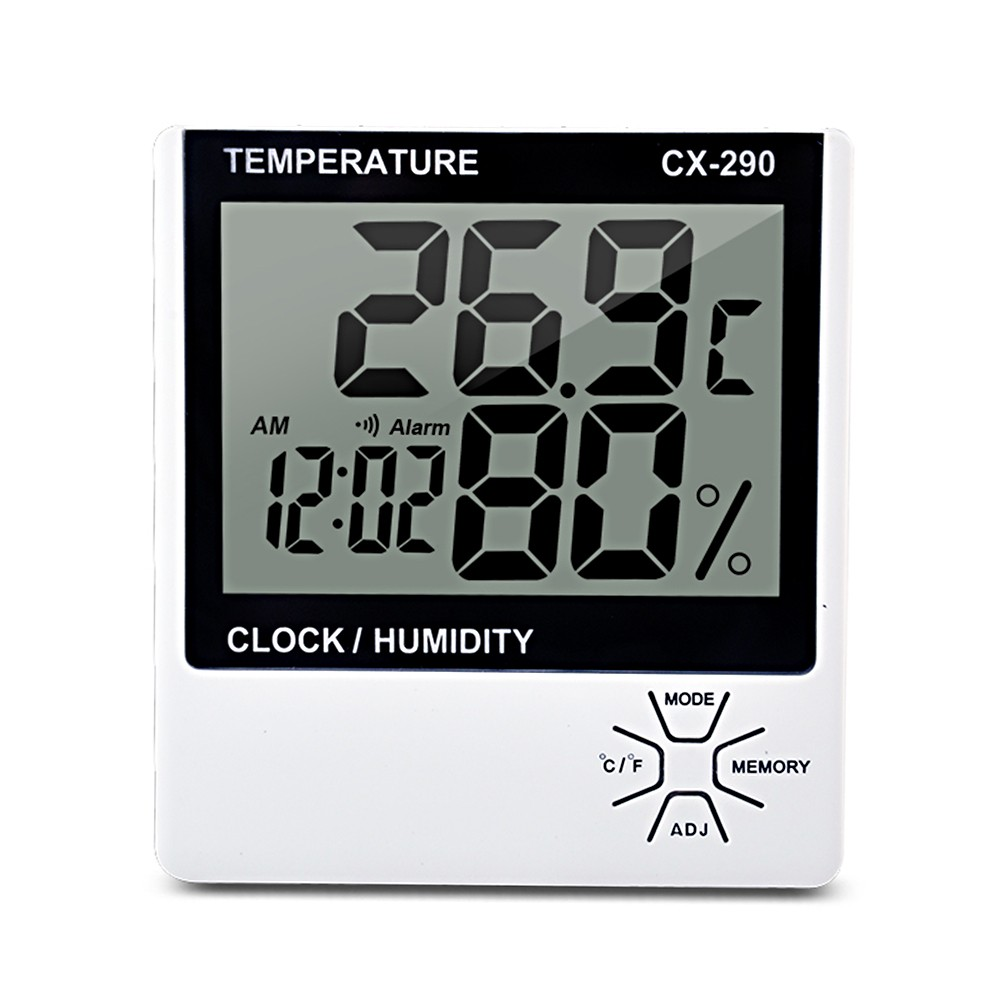 Indoor Thermometer Humidity Gauge LCD Digital Thermometer Hygrometer Room ℃/℉ Temperature Humidity Gauge Meter Alarm Clock Thermo-Hygrometer with MAX/MIN Memory