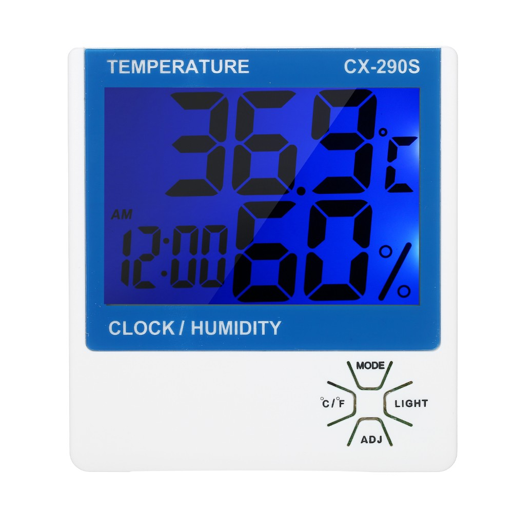 Accurate Humidity Monitor Gauge LCD Digital Indoor Thermometer Hygrometer Room ℃/℉ Temperature Humidity Gauge Meter Alarm Clock Thermo-Hygrometer with Backlight
