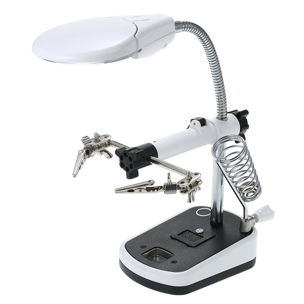 Magnifier with LED Light 3.5X 10X LED Light Magnifier Soldering Helping Hand Auxiliary Clamp Alligator Clip Stand for Welding Solder RC Parts Tools RC Toy Models