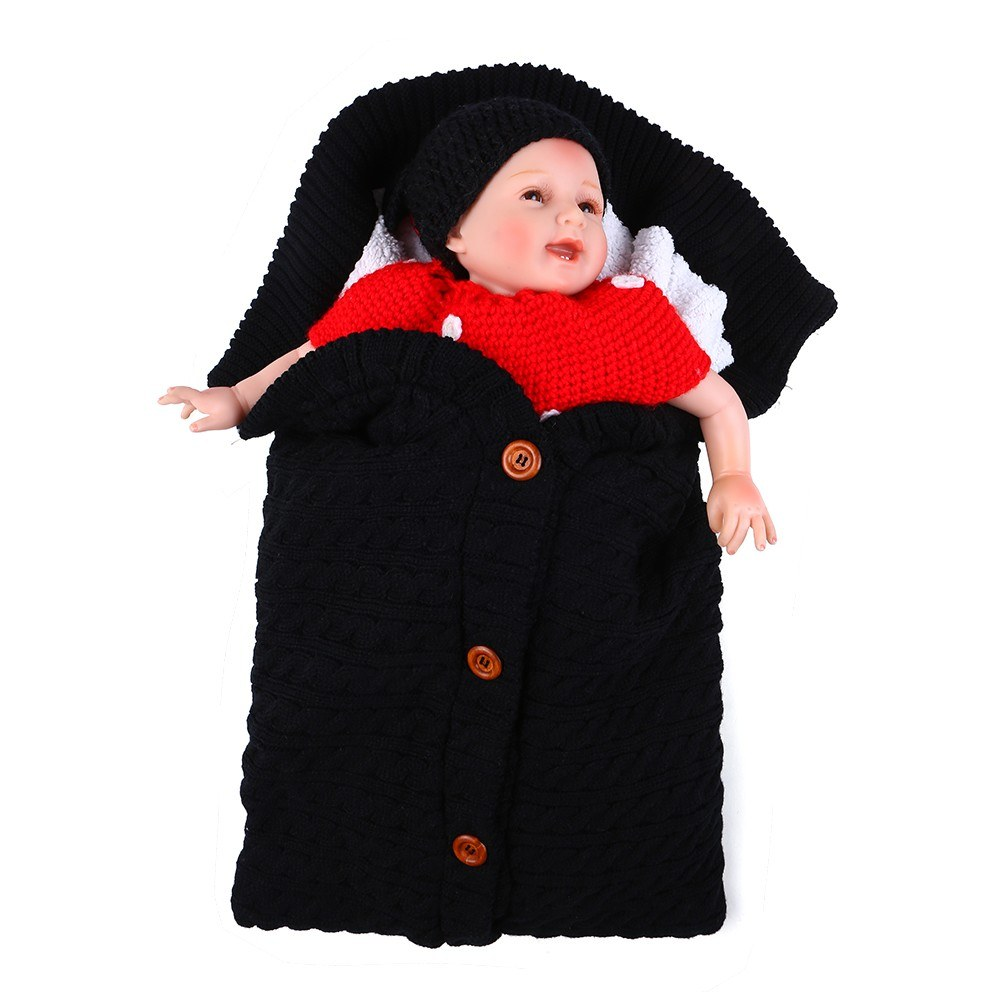 Infant Swaddle Blankets Soft Thick Breathable Knit Stroller Wraps Sleeping Sack Keep Warm Outdoor Button Closure for Unisex Baby Toddler - Black