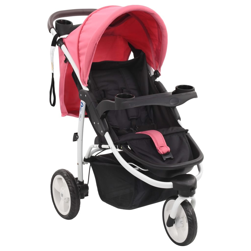 Pink and black 3-wheel baby stroller