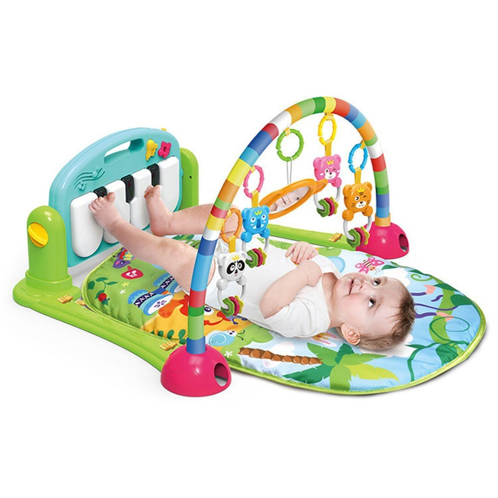 2 in 1 Baby Kick and Play Piano Gym Mat Rack Newborn Music Fitness Rack Rattle Toy Play Crawling Mat Early Educational Toy for 0~18 Months Old Babies