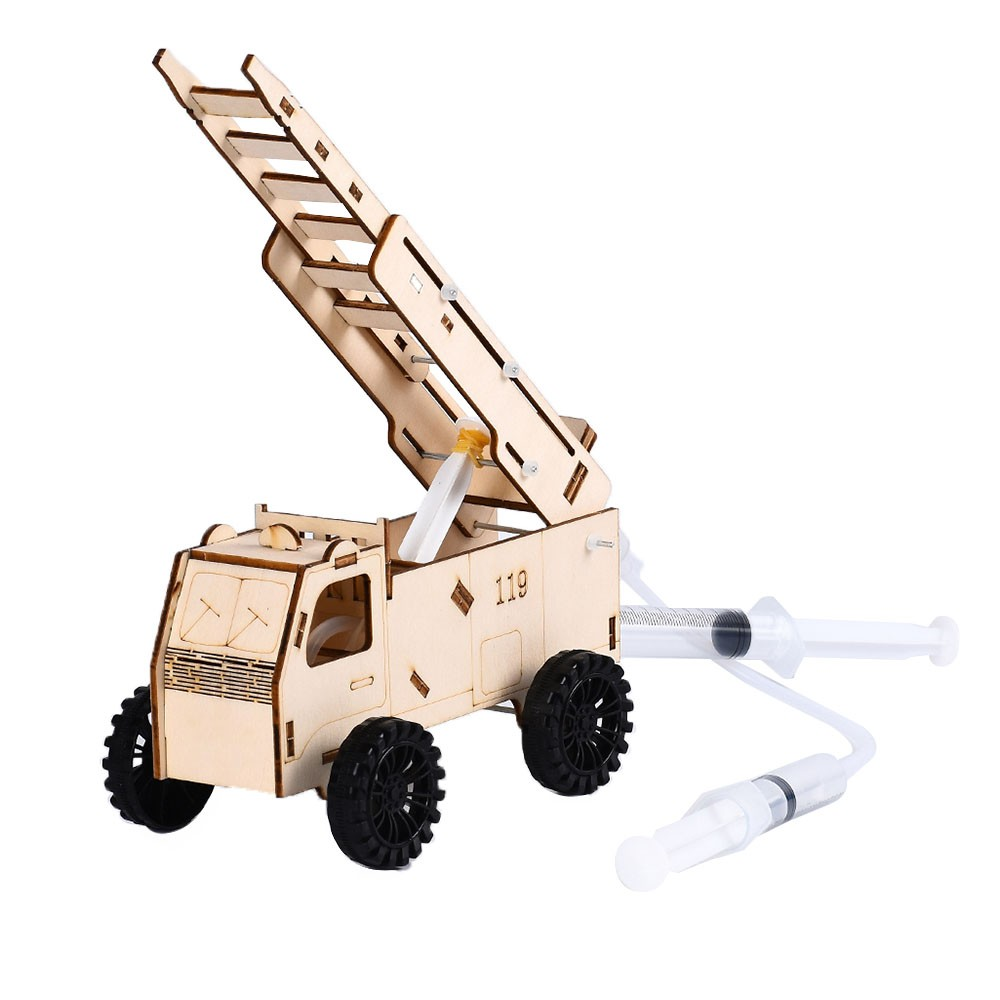 Interesting Scientific Experiment Technology Small-scale Manufacturing Handmade Material Hydraulic Fire Truck Model